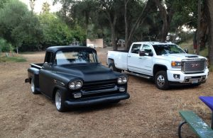 The '59 Apache looks like a compact truck next to bro's GMC hauler... it does haul with 900+ lbs of torque.