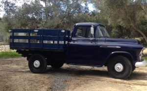 1956 Chevrolet 3600 flatbed restored to original condition.