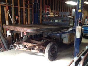 Flat bed lifted off of 1956 Chevrolet 3600 truck
