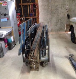 Flatbed parts for the 1956 Chevy truck disassembled