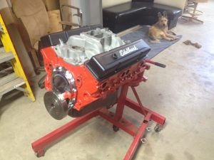 1959 Chevrolet Apache 350 V8 engine on stand after rebuild