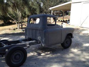 1956 Chevrolet truck cab, frame, and wheels sandblasted.