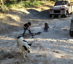 Sandblasting has created a new play area for the kids
