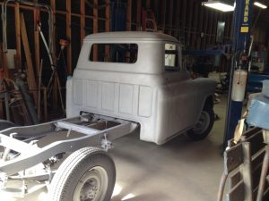 1956 Chevrolet truck back inside after sandblasting.