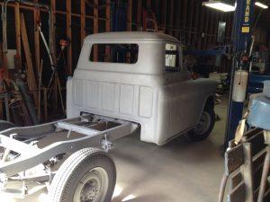 1956 Chevrolet truck back inside after sandblasting.