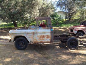 1956 Chevrolet 3600 flat bed truck stripped for sandblasting