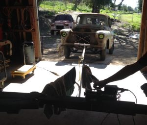 testing the winch setup used to haul truck into the barn