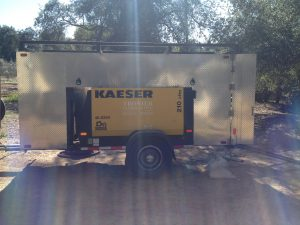 Tronier Sandblasting trailer which holds all of their equipment