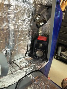 speaker installed in corner of 1956 Chevy truck cab