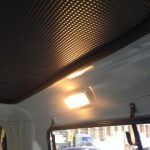 headliner, dome light, and gun rack installed