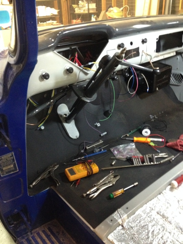 wiring the dashboard on our old Chevy truck