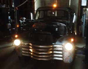 1948 Chevy truck with lights on after we installed harness.